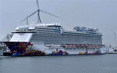 World Dream, cruise ship, luxurious white ship, a port, wind power stations, Breakaway Plus class