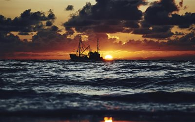 fishing boat, sunset, evening, seascape, waves, sea, fishing
