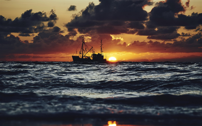 Fishing Boat Sunset Evening Seascape Waves Sea
