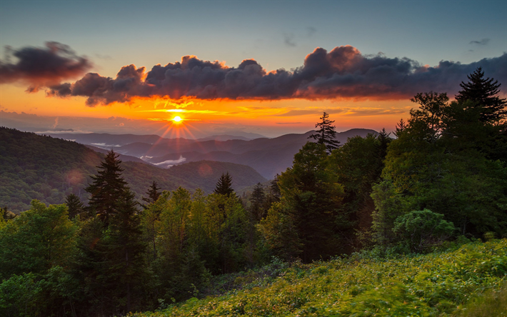 Download wallpapers Mitchell mountain, evening, mountain landscape, sunset, USA, North Carolina, valley for desktop free. Pictures for desktop free