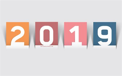 2019 Year, concepts, paper cards, color numbers, 2019 concept, gray background
