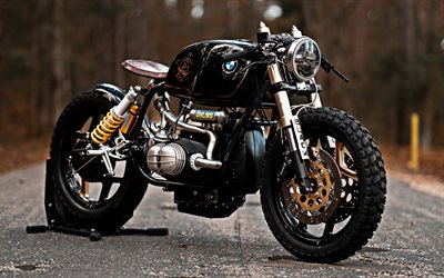 BMW R100RT, bobber, motorcycle tuning, black motorcycle, custom R100, BMW