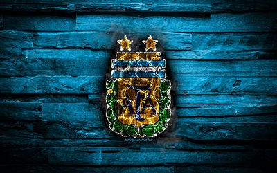 Argentina, burning logo, Conmebol, blue wooden background, grunge, South America National Teams, football, Argentinean soccer team, soccer, Argentina national football team