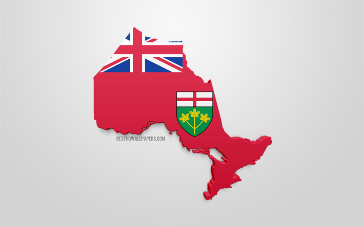 Map Of Canada Silhouette.Download Wallpapers Ontario Map Silhouette 3d Flag Of Ontario