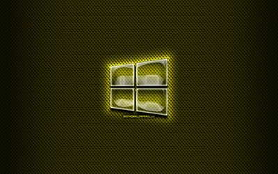Windows 10 glass logo, yellow background, OS, artwork, brands, Windows 10 logo, creative, Windows 10