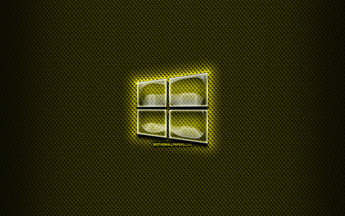Windows 10 de vidrio logotipo, fondo amarillo, OS, ilustraciones, marcas, Windows 10 logotipo, creativo, Windows 10