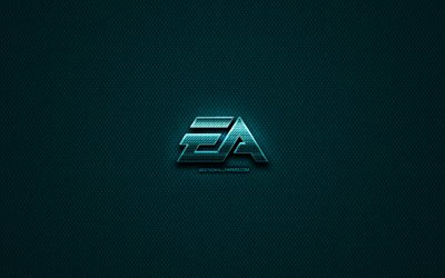 EA Games glitter logo, creative, Electronic Arts, blue metal background, EA Games logo, brands, EA Games