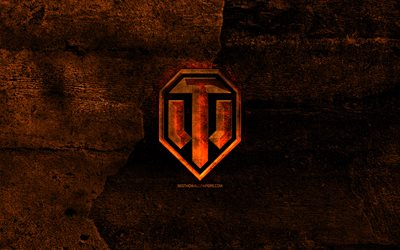 World of Tanks fiery logo, WoT, orange stone background, Mortal Kombat, creative, World of Tanks logo, brands, World of Tanks, WoT logo