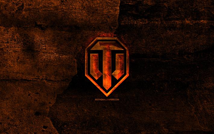 Download Wallpapers World Of Tanks Fiery Logo Wot Orange Stone