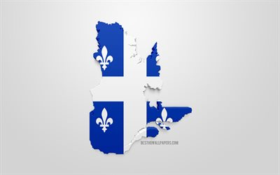 quebec map silhouette, 3d flag of quebec, province of canada, 3d-kunst, quebec 3d flag, canada, north america, quebec, geography, quebec 3d-silhouette