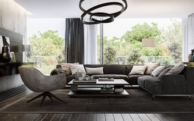 stylish interior design, living room, loft style, gray concrete walls, gray sofas, modern interior design