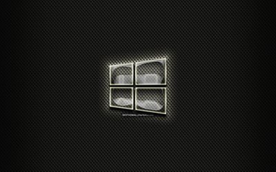 Windows 10 glass logo, black background, OS, artwork, brands, Windows 10 logo, creative, Windows 10