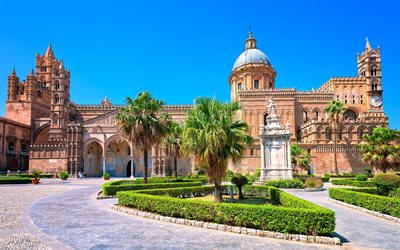 Palermo, Cathedral of Palermo, summer, travel, landmark, Sicily, Italy