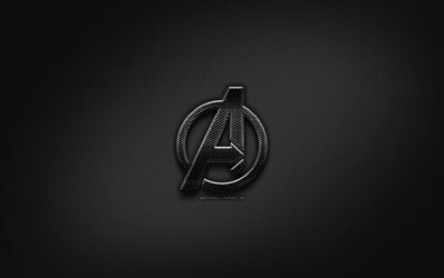 Avengers black logo, creative, metal grid background, Avengers logo, brands, Avengers