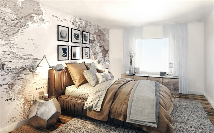 stylish modern interior design, bedroom, world map on the wall, modern interior, large brown leather bed