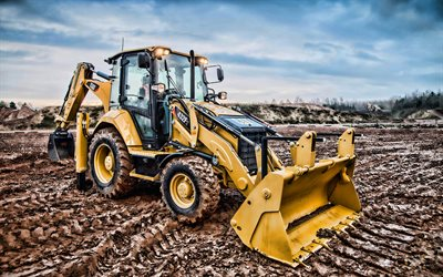 Caterpillar 432F2, 4k, HDR, Backhoe loader, construction vehicles, Cat 432F2, special equipment, excavators, Caterpillar