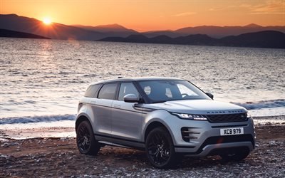 Range Rover Evoque, sunset, offroad, 2019 cars, 4k, gray Evoque, Land Rover, 2019 Range Rover Evoque, Range Rover
