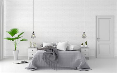 stylish light bedroom, modern interior design, white brick wall in the bedroom, modern interior
