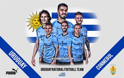 Uruguay national football team, team leaders, 2019 Copa America, CONMEBOL, Uruguay, South America, football, logo, emblem, Luis Suarez, Edinson Cavani, Diego Godín