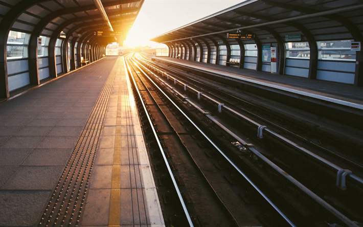 Download Wallpapers Railway Station Morning Sunrise Rails