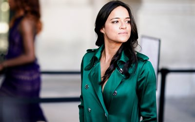 Michelle Rodriguez, American actress, photoshoot, green dress, portrait, Hollywood star