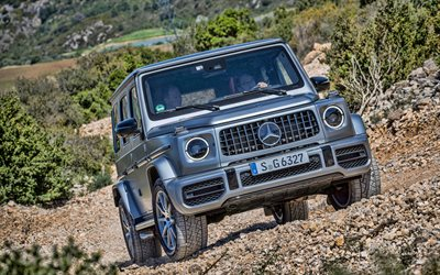 4k, mercedes-amg, g63, berge, 2019 autos, silber gelendvagen, offroad, suv, deutschen autos, mercedes, gelendvagen, hdr
