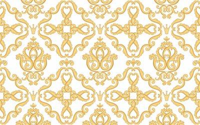 golden retro background with ornaments, white texture with golden ornaments, vintage gold backgrounds, retro texture