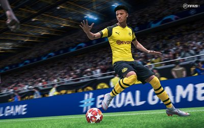 Jadon Sancho, 4k, poster, FIFA 20, 2019 games, football simulator, FIFA20