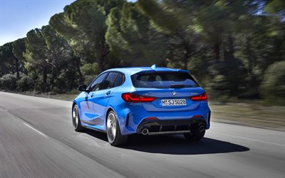 2020, BMW 1, exterior, rear view, blue hatchback, BMW M135i, German cars, BMW