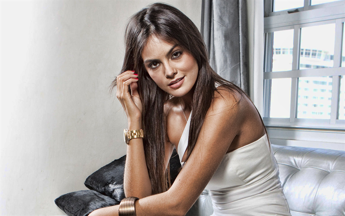 Ximena Navarrete, mexican fashion model, photo shoot, white dress, beautiful Mexican woman