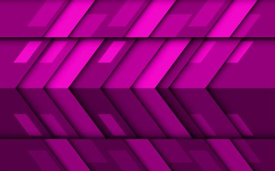purple arrows, 4k, material design, creative, geometric shapes, lollipop, arrows, purple material design, strips, geometry, purple backgrounds