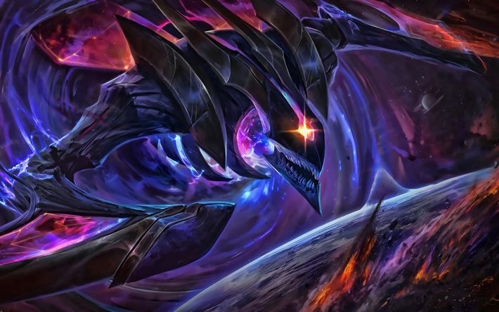KhaZix, des illustrations, des MOBA League of Legends, monstre, dragon, KhaZix de League of Legends