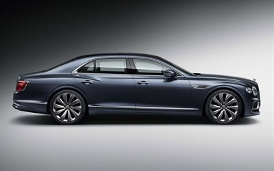 2020, Bentley Flying Spur, side view, gray luxury sedan, new gray Flying Spur, British cars, Bentley