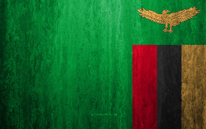 Flag of Zambia, 4k, stone background, grunge flag, Africa, Zambia flag, grunge art, national symbols, Zambia, stone texture