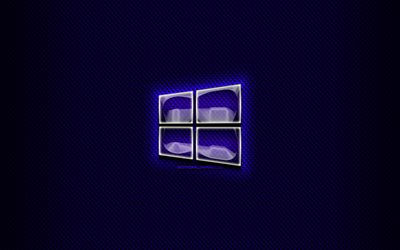 Windows 10 glass logo, blue background, OS, artwork, brands, Windows 10 logo, creative, Windows 10