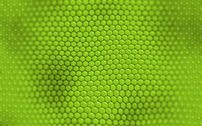 3d green hexagon texture, green hexagon background, creative green backgrounds, green wave texture, geometric background, green waves background