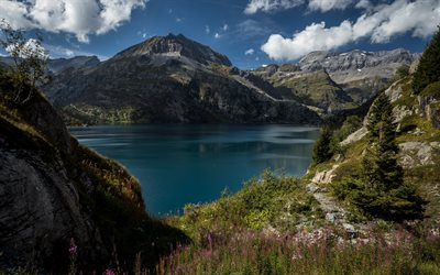 mountain lake, Alps, mountain landscape, glacier lake, Switzerland, lakes