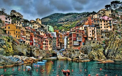 Cinque Terre, italian cities, harbor, HDR, Italy, Europe, summer, cityscapes
