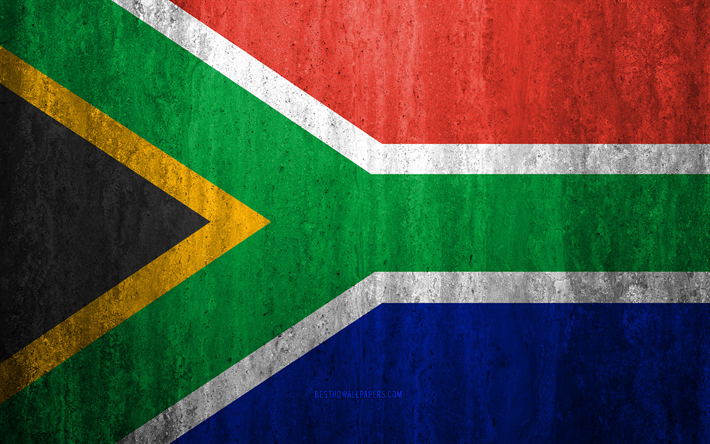 Flag of South Africa, 4k, stone background, grunge flag, Africa, South Africa flag, grunge art, national symbols, South Africa, stone texture