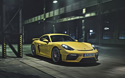 Porsche 718 Cayman GT4, 2020, front view, exterior, new yellow 718 Cayman GT4, german sports cars, Porsche