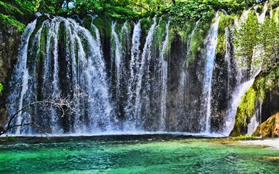 beautiful waterfall, forest, emerald lake, waterfalls, lakes, Plitvice Lakes National Park, Lika-Senj County, Karlovac County, Croatia