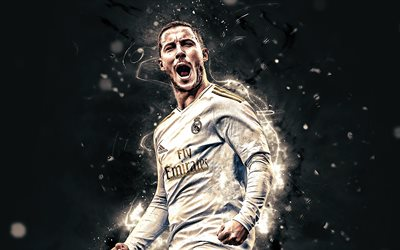 Eden Hazard, 2019, belgian footballers, Real Madrid CF, soccer, fan art, Eden Michael Hazard, La Liga, football stars, neon lights, Spain, Eden Hazard Real Madrid