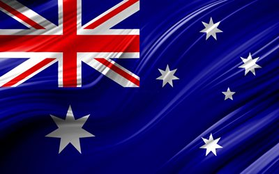 4k, Australian flag, Oceanian countries, 3D waves, Flag of Australia, national symbols, Australia 3D flag, art, Oceania, Australia