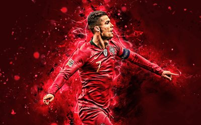4k, Cristiano Ronaldo, 2019, goal, Portugal National Team, soccer, CR7, joy, neon lights, joyful Cristiano Ronaldo, Portuguese football team