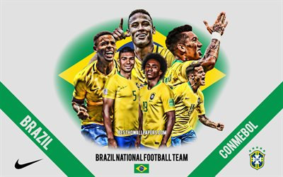Brazil national football team, 2019 Copa America, team leaders, CONMEBOL, Brazil, South America, football, logo, emblem, Neymar, Philippe Coutinho, Roberto Firmino, Daniel Alves, Gabriel Jesus
