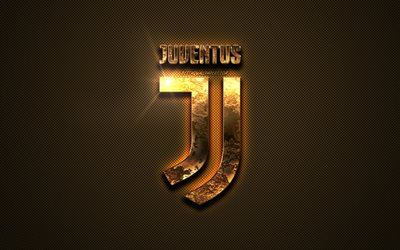 Juventus FC, golden logo, Italian football club, golden emblem, Turin, Italy, Serie A, golden carbon fiber texture, football, Juventus logo
