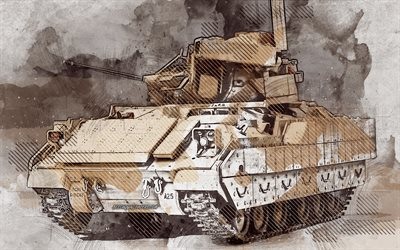 M3A3 Bradley, Cavalry Fighting Vehicle, grunge art, creative art, painted M3A3 Bradley, drawing, M3A3 Bradley grunge, digital art, CFV, M3 Bradley, United States Army