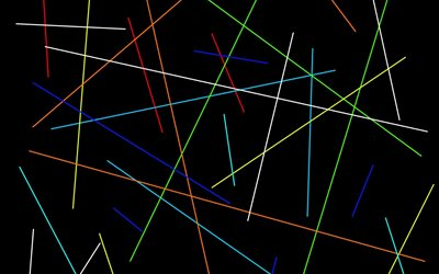 multicolored lines on a black background, neon lines, black lines background, abstract lines background