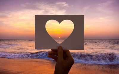 heart frame, love frame, sunset, evening, seascape, love sea concepts, love to travel, paper frame
