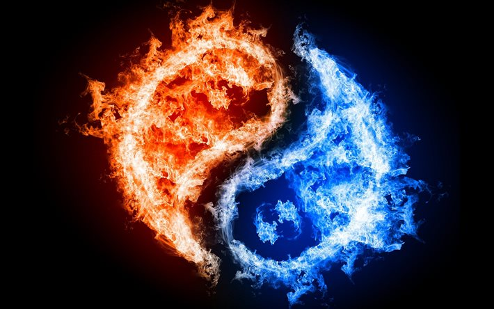 yin and yang, creative, blue and orange fire, dualism concepts, fiery yin yang, artwork, yin yang, dualism